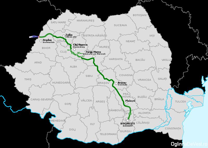 Harta traseului proiectat al autostrăzii A3, România